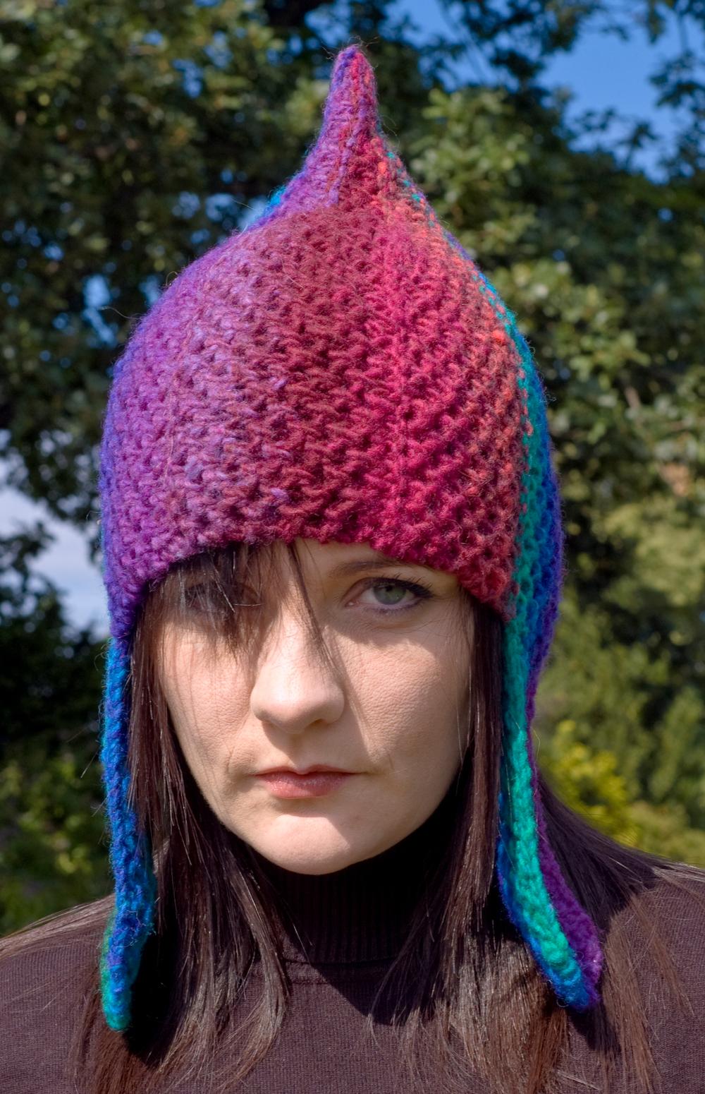 Rainbow Warrior chullo pixie Hat knitting pattern