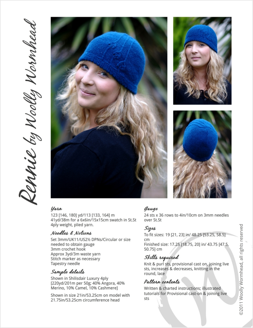 Rennie cloche Hat knitting pattern