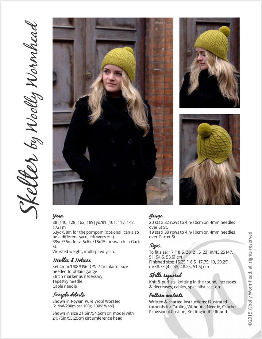 Skelter split brim pompom Hat knitting pattern