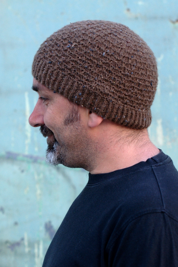 Slipped Ridge textured beanie knitting pattern