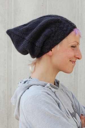Sloochie Slouchy Beret And Pixie Hat Knitting Pattern For Aran