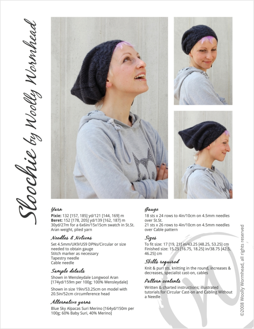 Sloochie slouchy beret and pixie Hat knitting pattern for aran ...