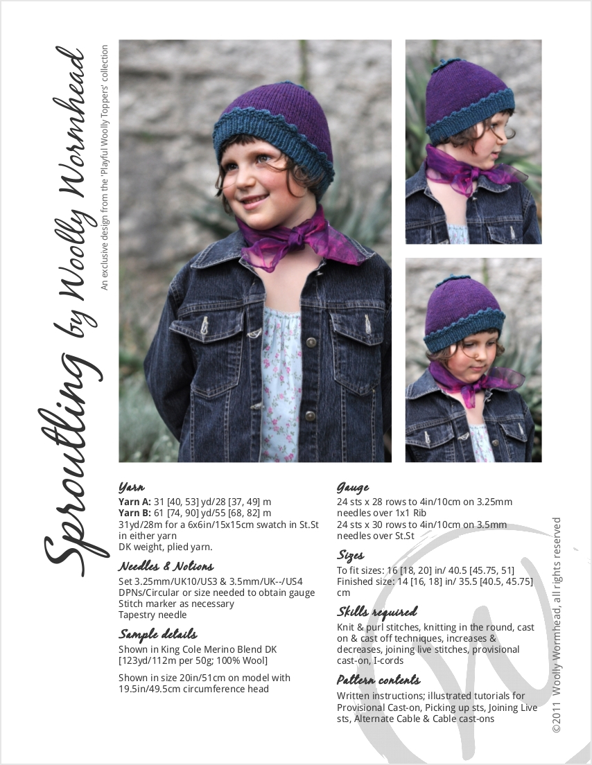 Sproutling beanie Hat knitting pattern for children