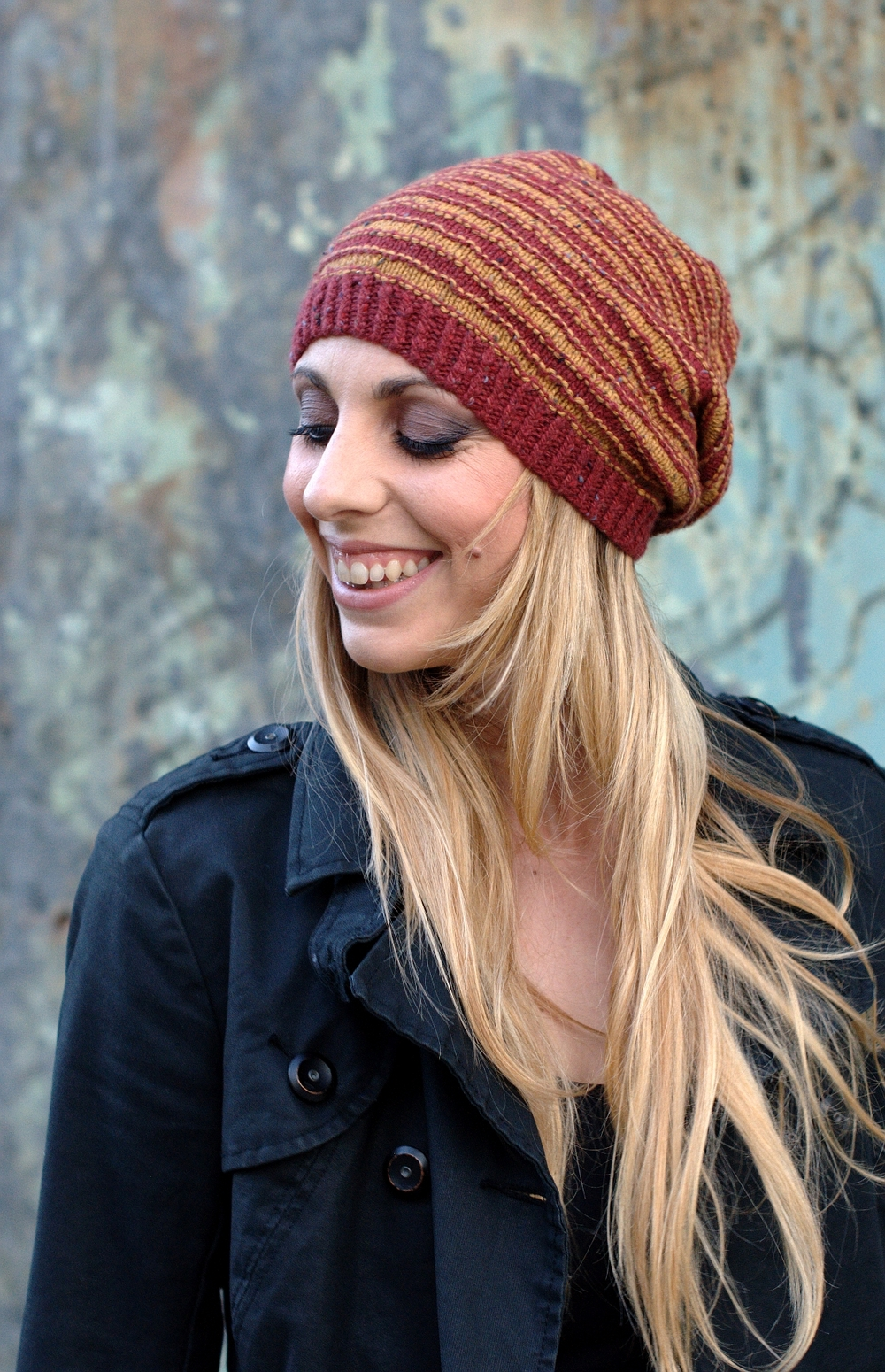 Striato beanie and slouchy striped Hat knitting pattern in sport or ...