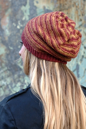 Striato Beanie And Slouchy Striped Hat Knitting Pattern In Sport Or