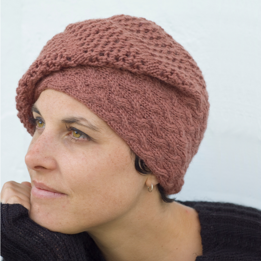 Strudel sideways knit slouchy lace Hat pattern