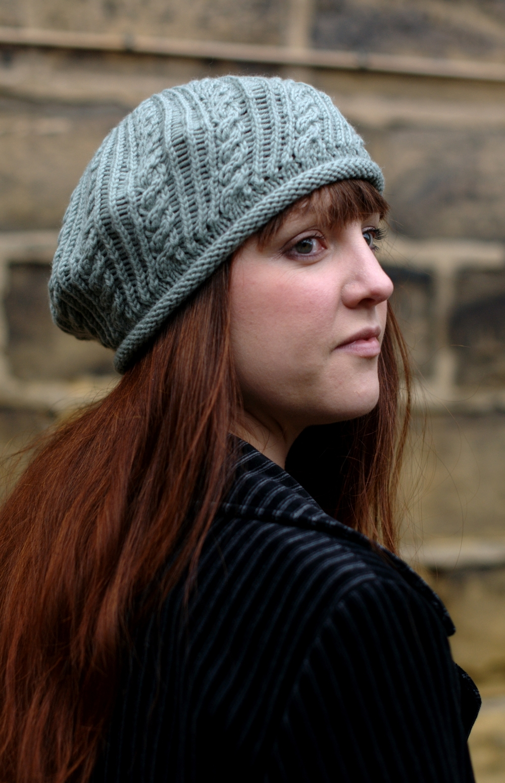 Wickery bias cable beret knitting pattern