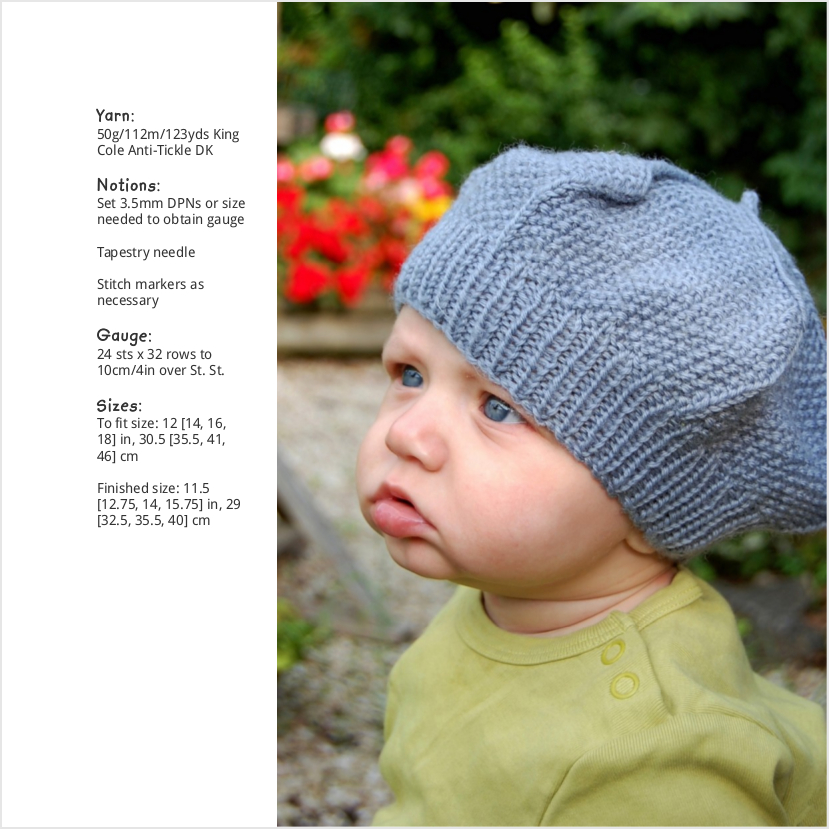 Waltzer textured beret knitting pattern for babies and children