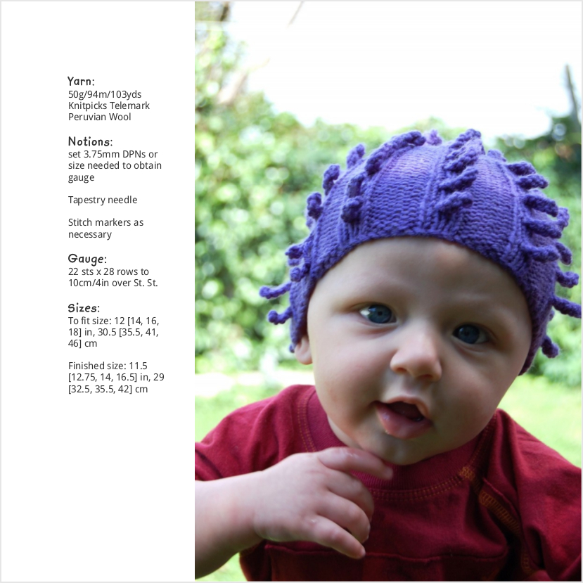 Porcupine textured Hat knitting pattern for babies and children