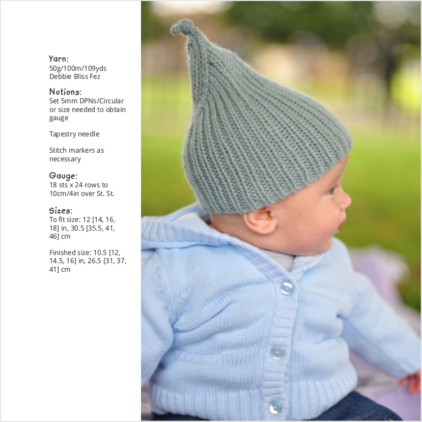 Elfin ribbed pixie Hat for babies and children