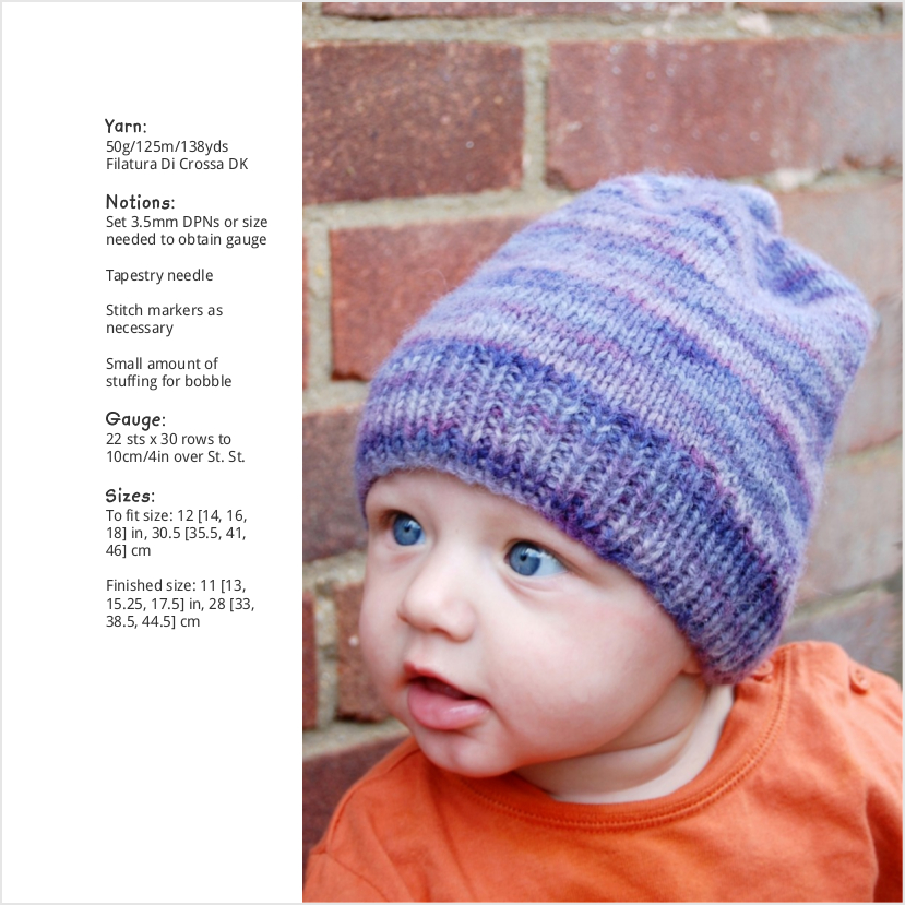 Doodie slouchy beanie knitting pattern for babies and children