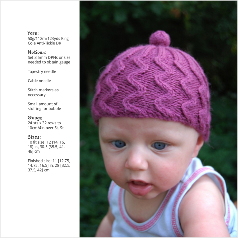 Cupcake cable beanie knitting pattern for babies and children