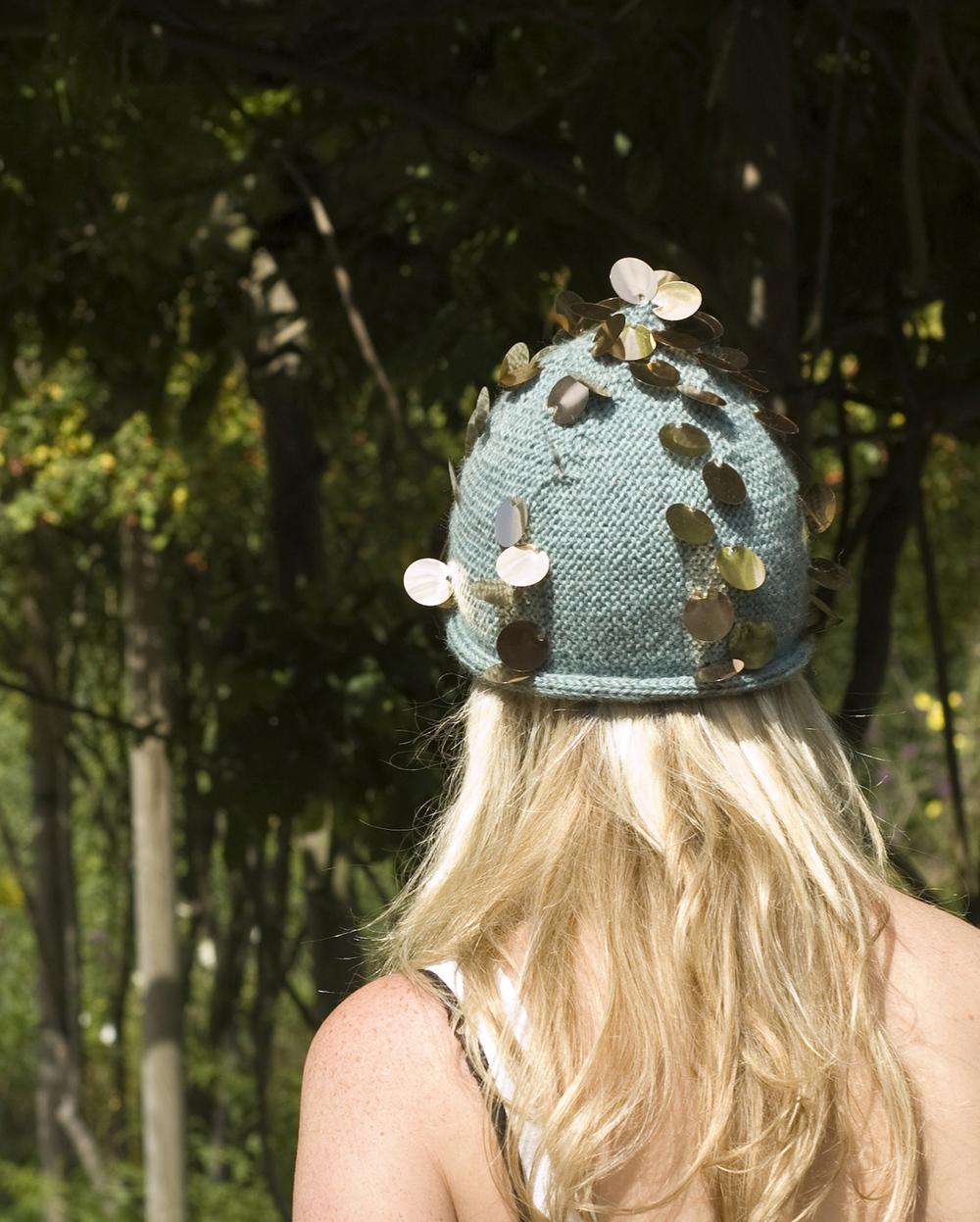 Twinkel sideways knit Clochet Hat with sequins pattern
