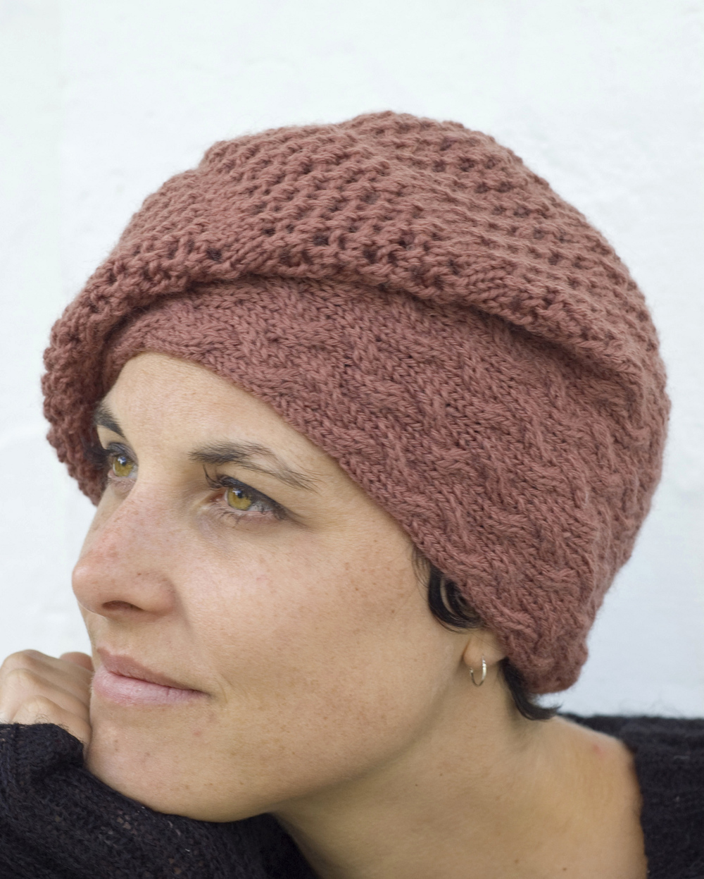 Strudel sideways knit cable and lace slouchy Hat pattern