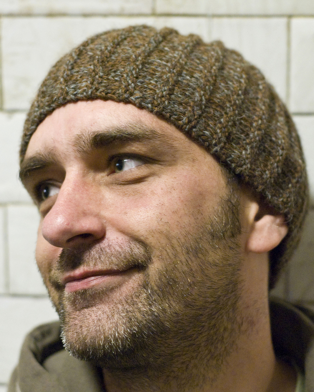 Reverser sideways knit mens beanie pattern
