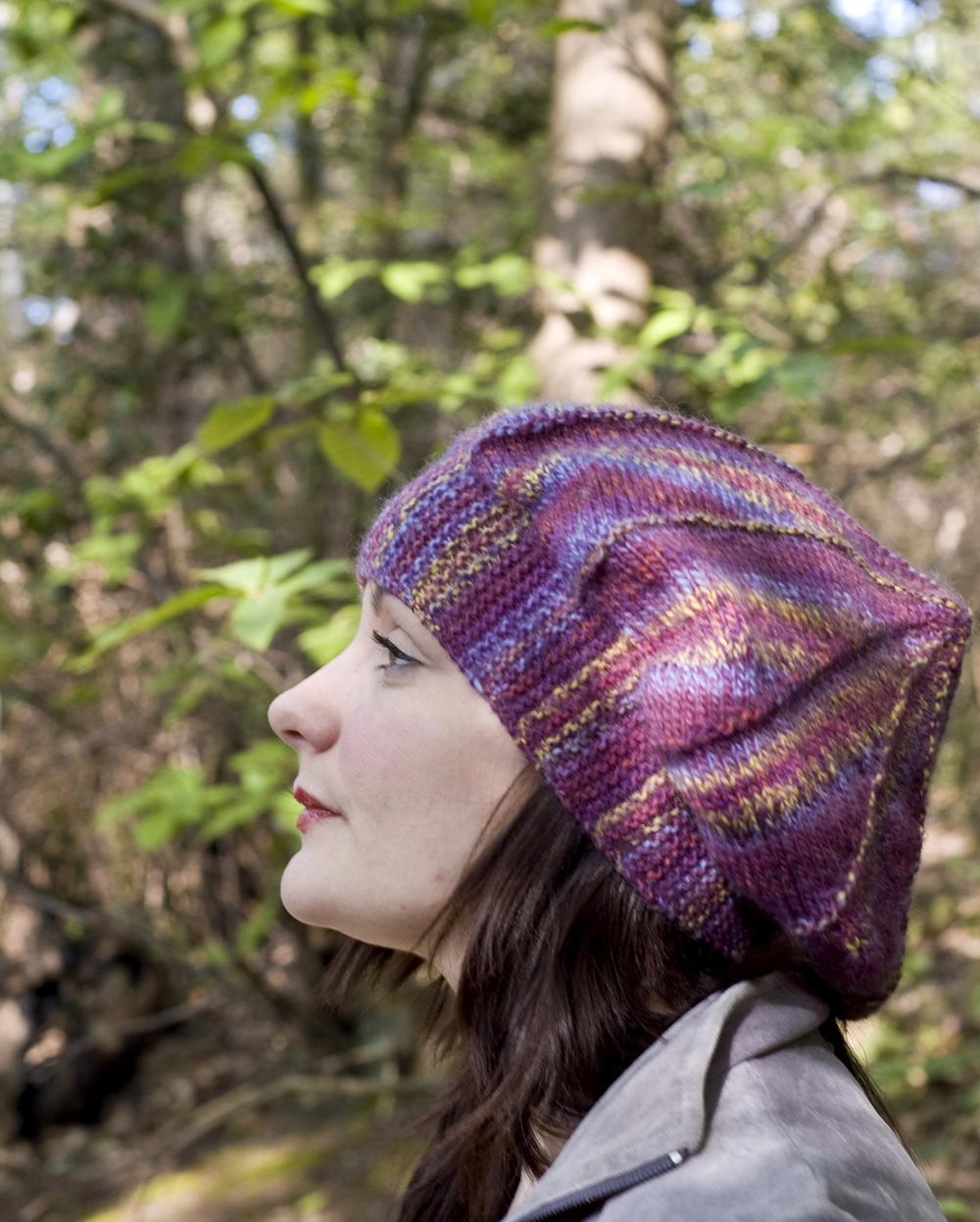 Guimauve sideways knit oriental beret pattern