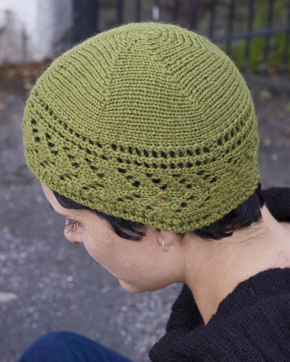 Dryad sideways knit summer lace beanie pattern