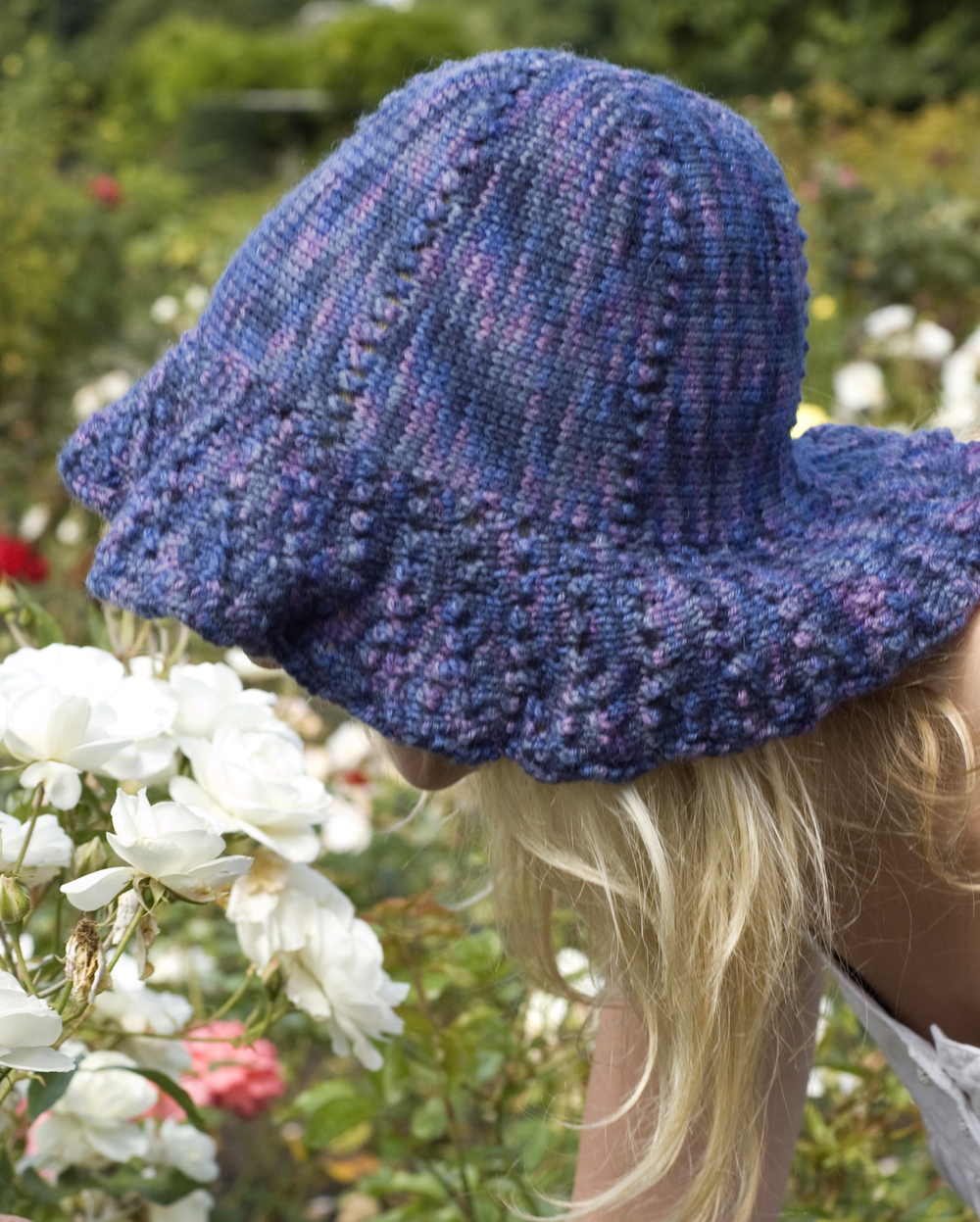 Daisy sideways knit summer lace brimmed Hat pattern