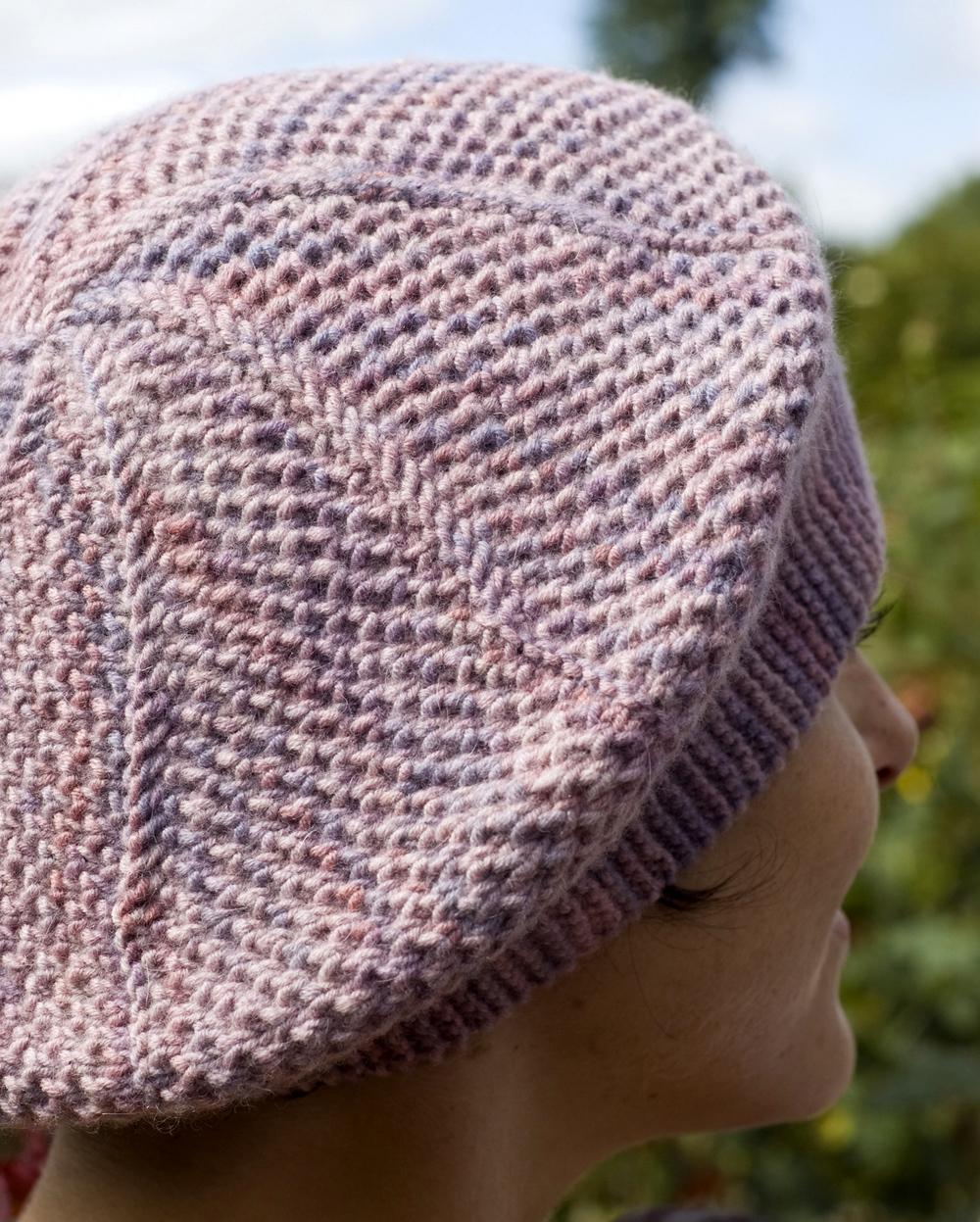Curlicue sideways knit brioche beret pattern