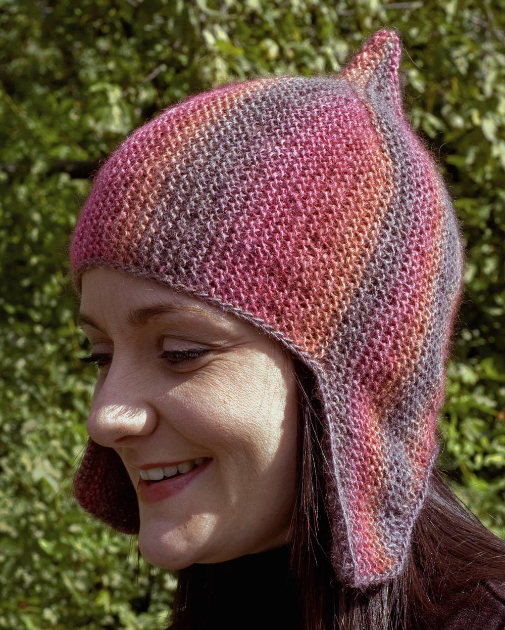 Centuria sideways knit chullo pixie helmet Hat pattern