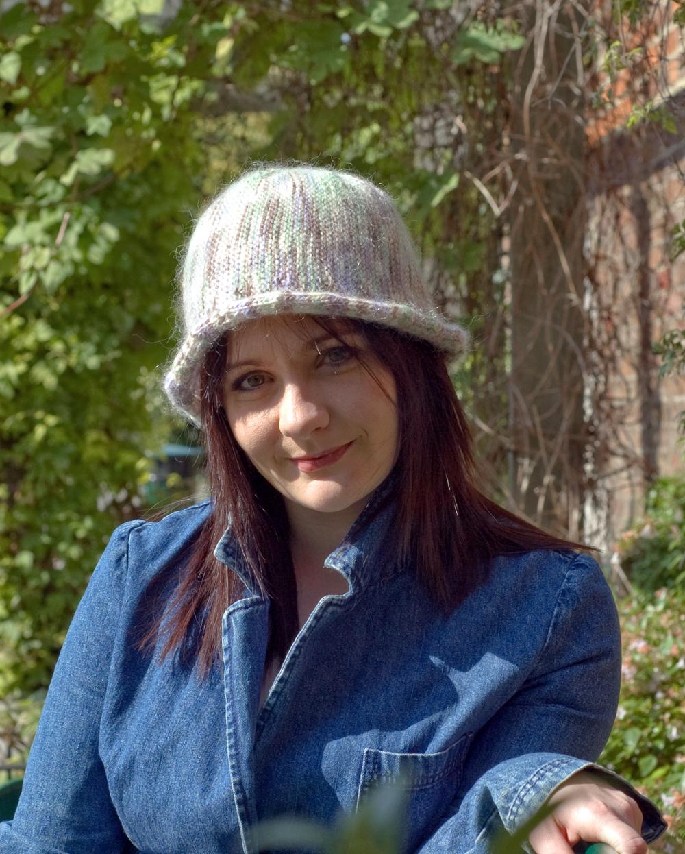 Bella sideways knit brimmed cloche Hat pattern for variegated yarn