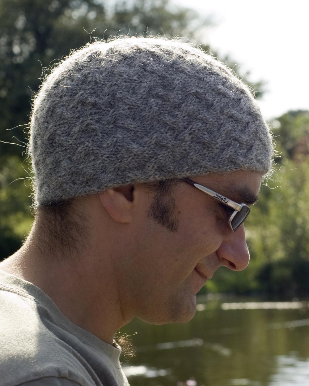 Alfie sideways knit mens cable beanie pattern
