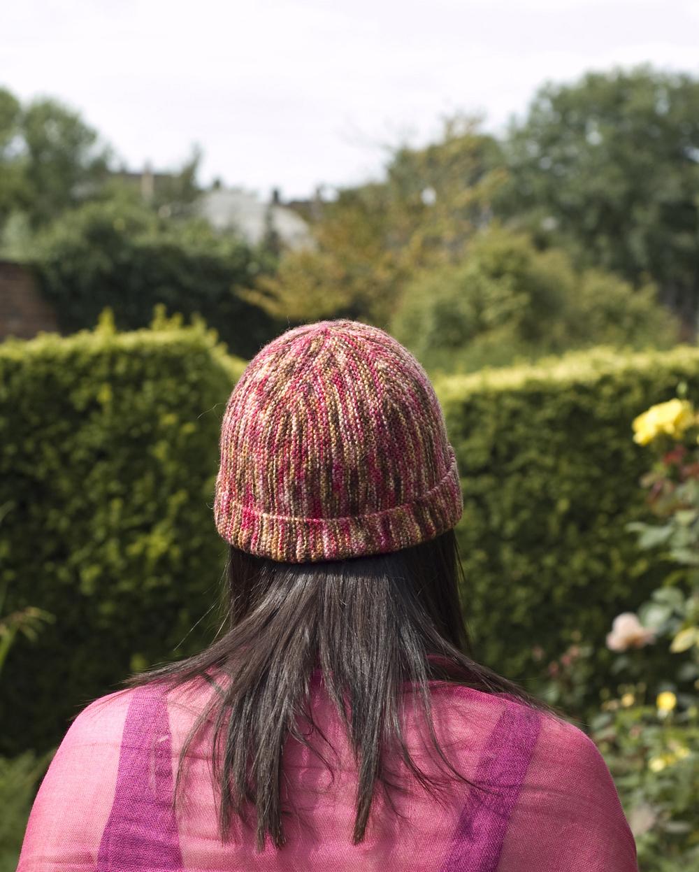 Bob Cap sideways knit garter stitch beanie pattern for sock yarn