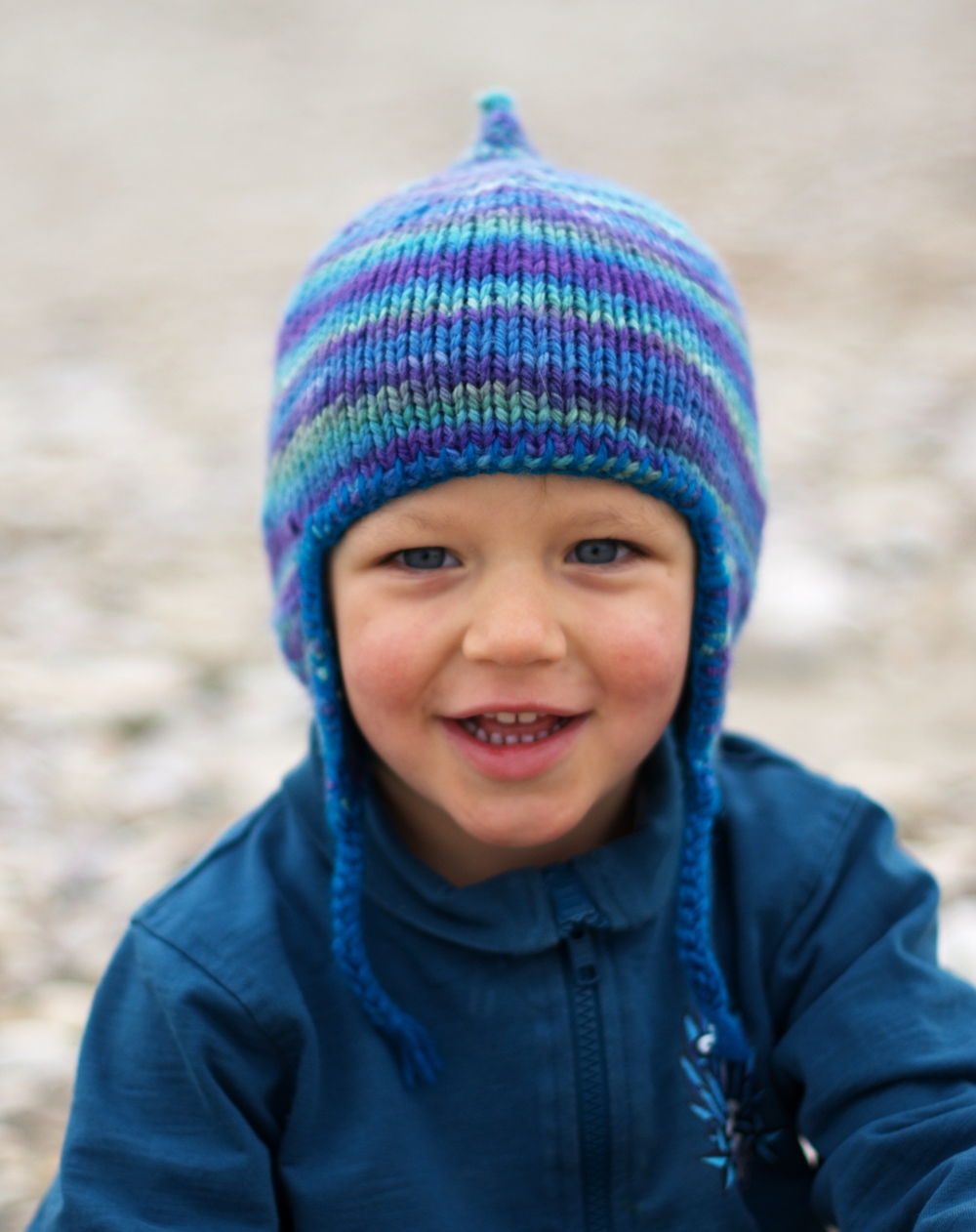 Bimple childs chullo pixie Hat knitting pattern for variegated yarn