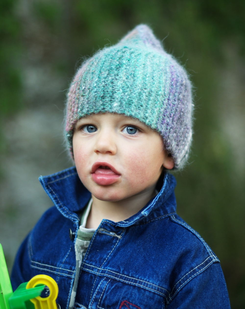 Rocketeer sideways knit childs pixie Hat knitting pattern