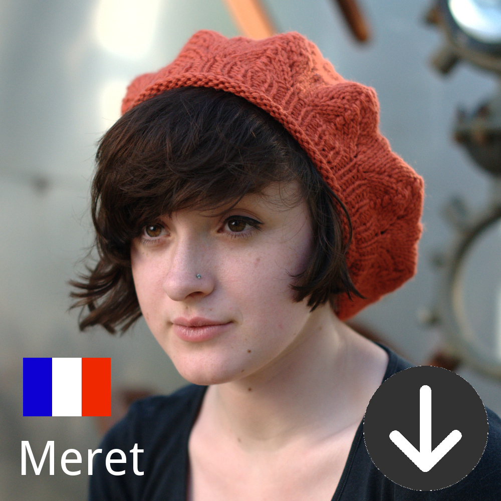 free Meret lace beret knitting pattern in French