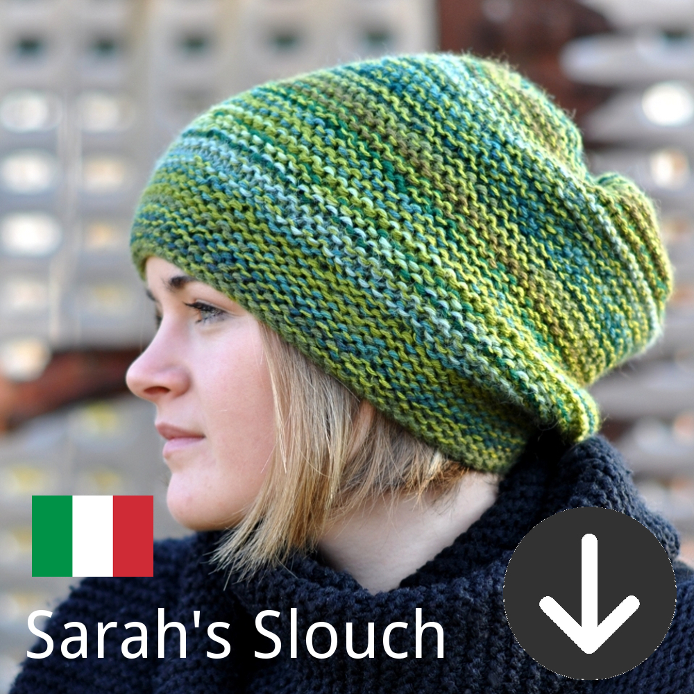 free Sarah's Slouch Hat knitting pattern in Italian