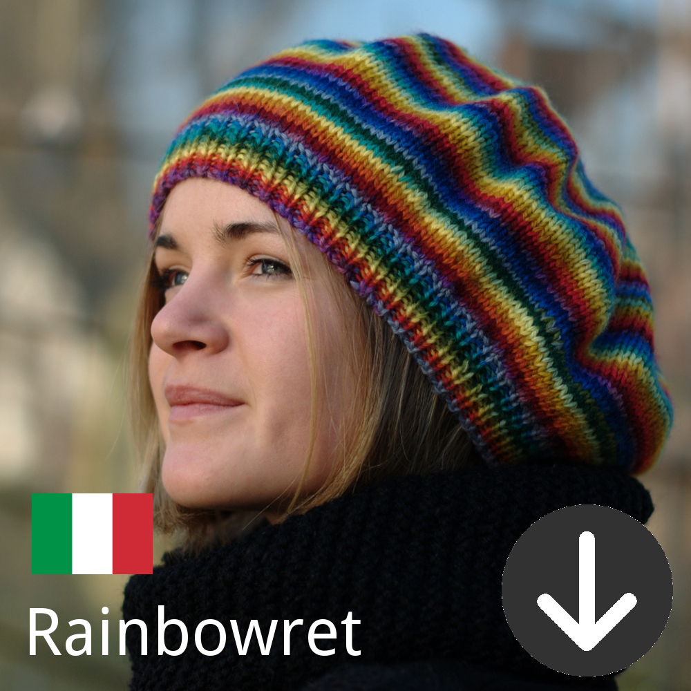 free kniotting pattern for the Rainbowret knitting pattern in Italian