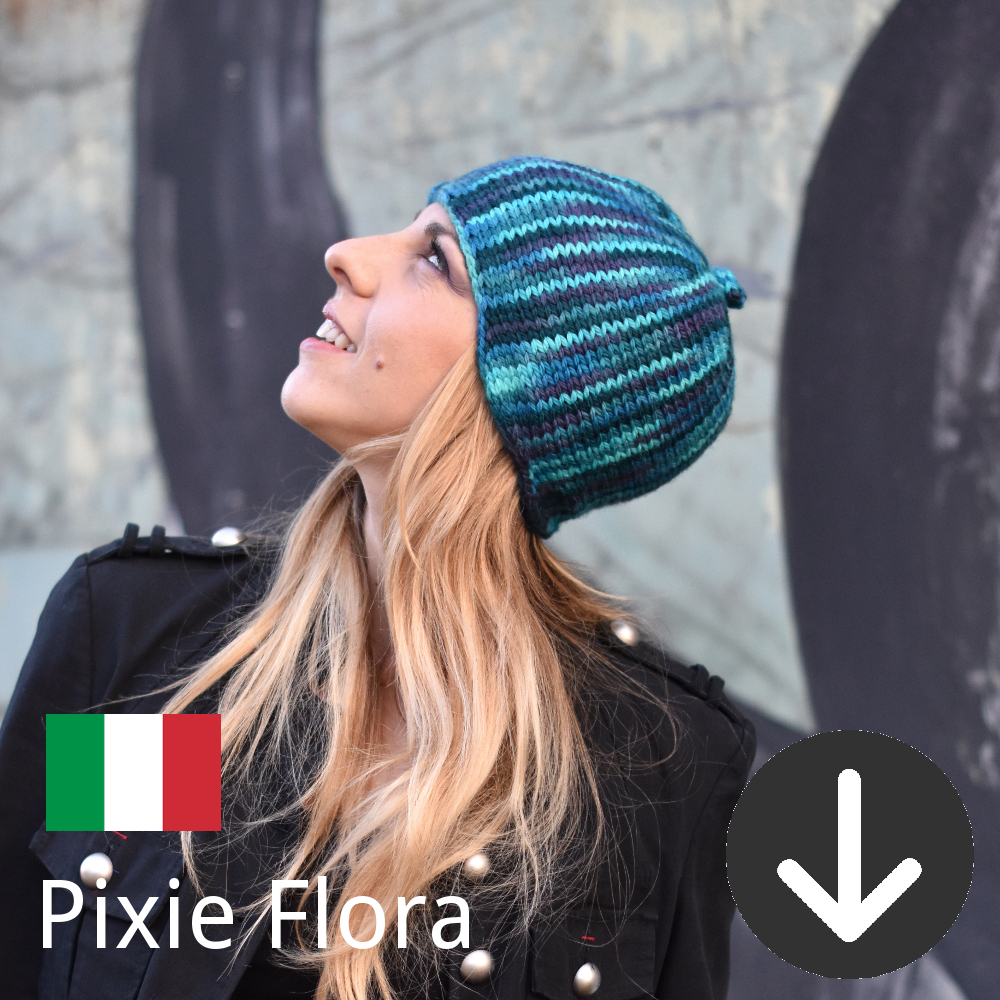 free knitting pattern for the Pixie Flora Hat in Italian