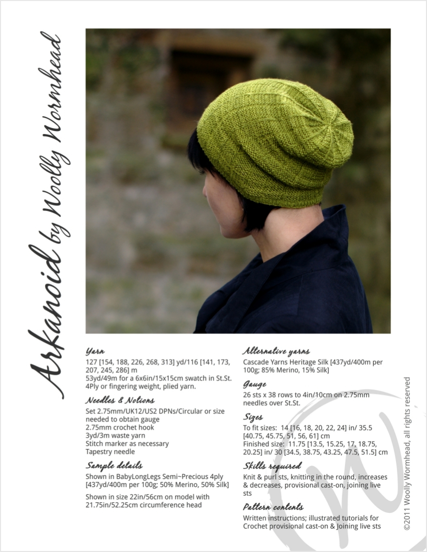 Arkanoid slouchy Hat pattern