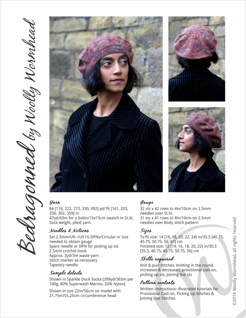Bedragonned beret knitting pattern