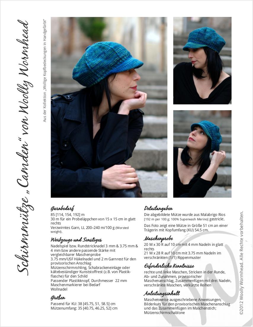 Camden Cap knitting pattern GER