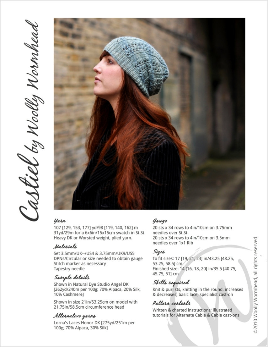 Castiel slouchy lace Hat knitting pattern