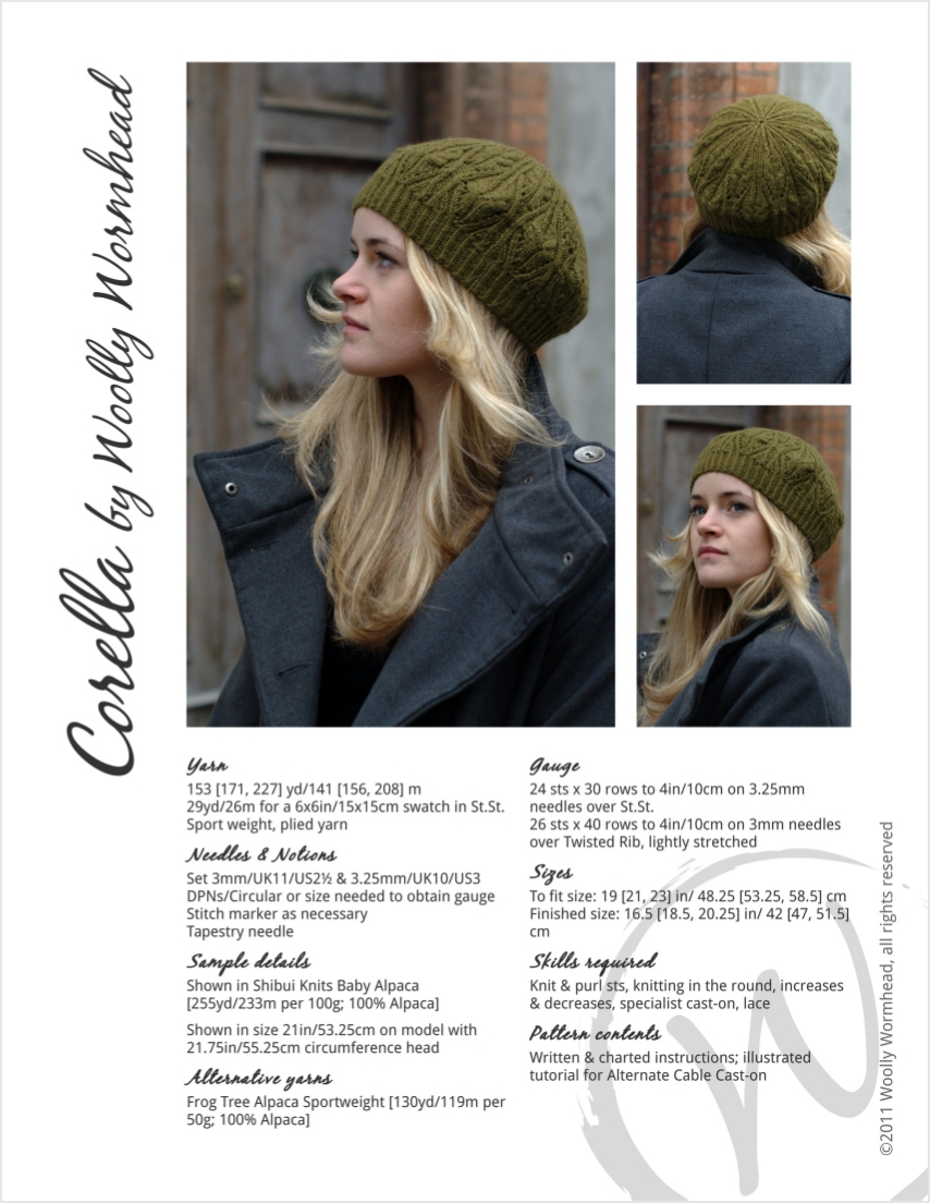 Corella tam knitting pattern