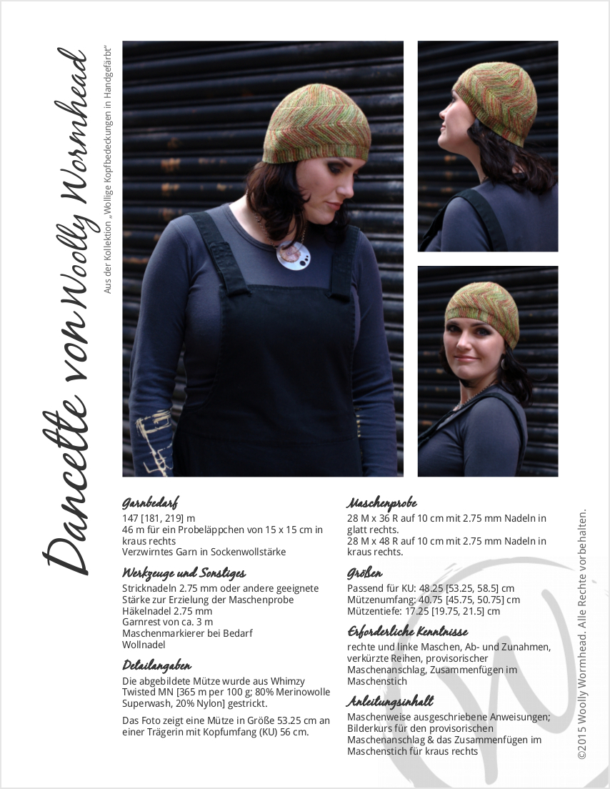 Dancette sideways knit Hat pattern GER