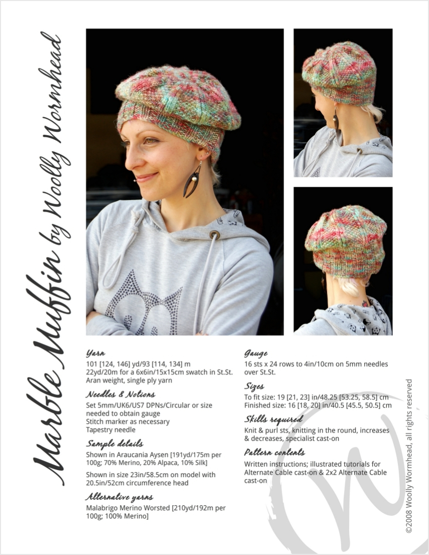 Marble Muffin slouchy beret knitting pattern