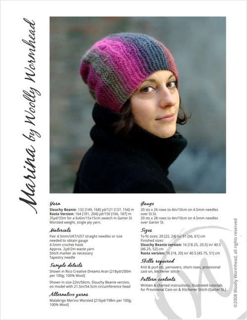 Marina sideways knit slouchy lace Hat pattern — Woolly Wormhead