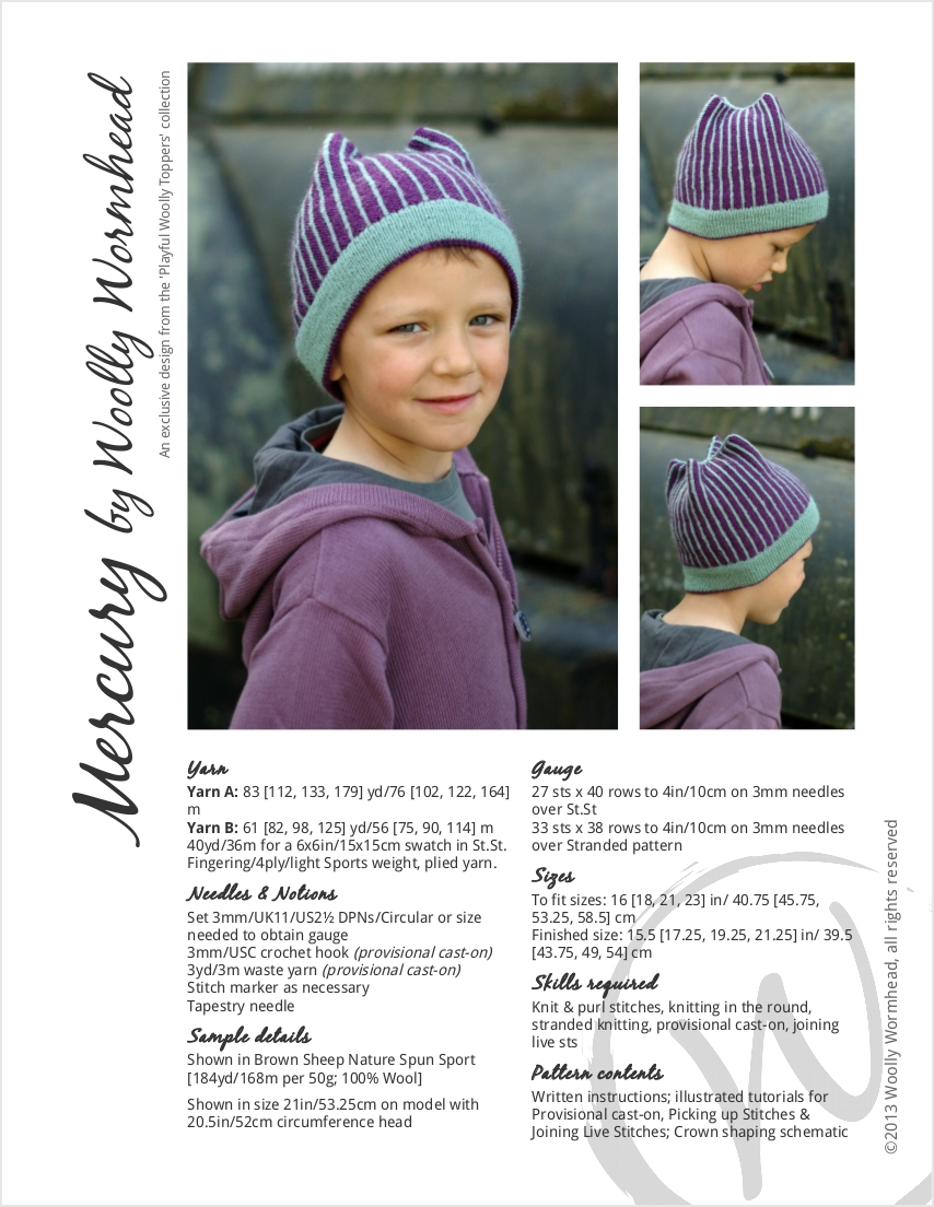 Mercury fairisle pinstripe Hat knitting pattern