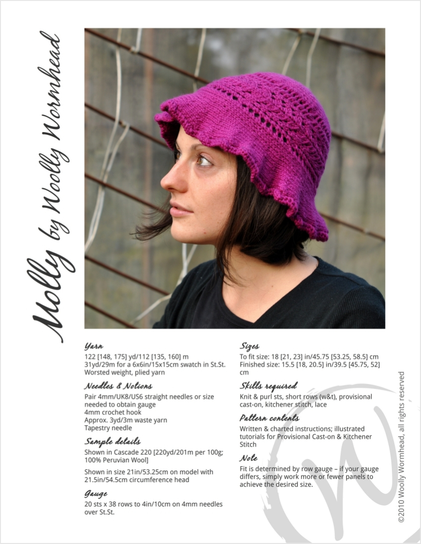Molly brimmed sun Hat knitting pattern