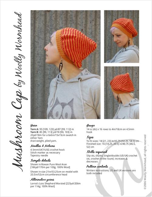 Mushroom Cap Pixie Hat Crochet Pattern Woolly Wormhead