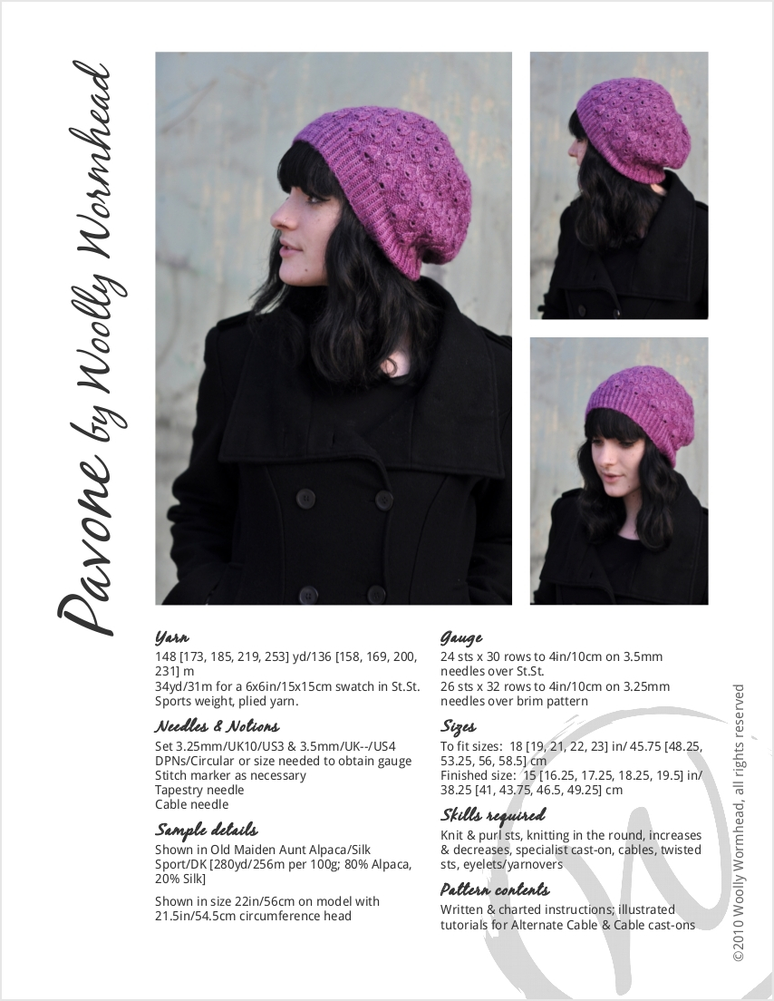 Pavone slouchy lace Hat knitting pattern