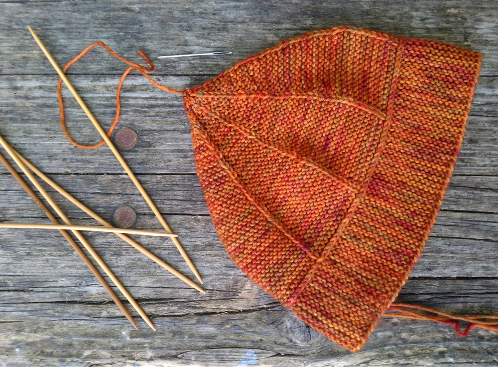 garter stitch with slipped stitches pixie Hat - a new design in Bilum Pikinini (a hand-dyed Merino 4ply form Hungary); colourway unknown.