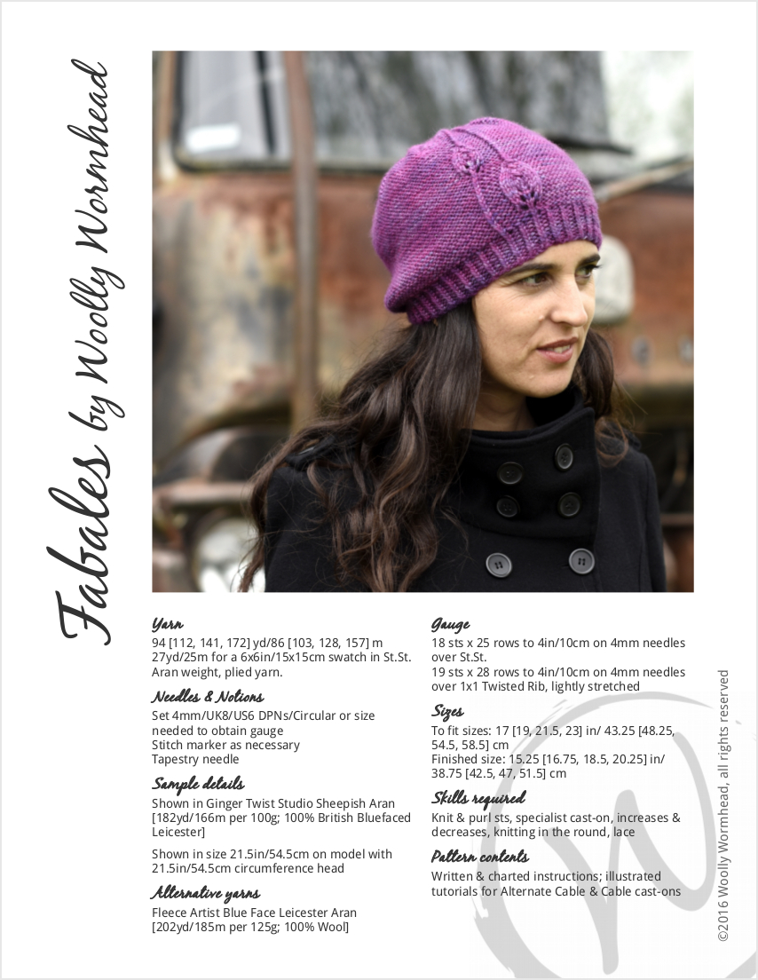 Fabales slouchy Hat knitting pattern with lace leaf detail