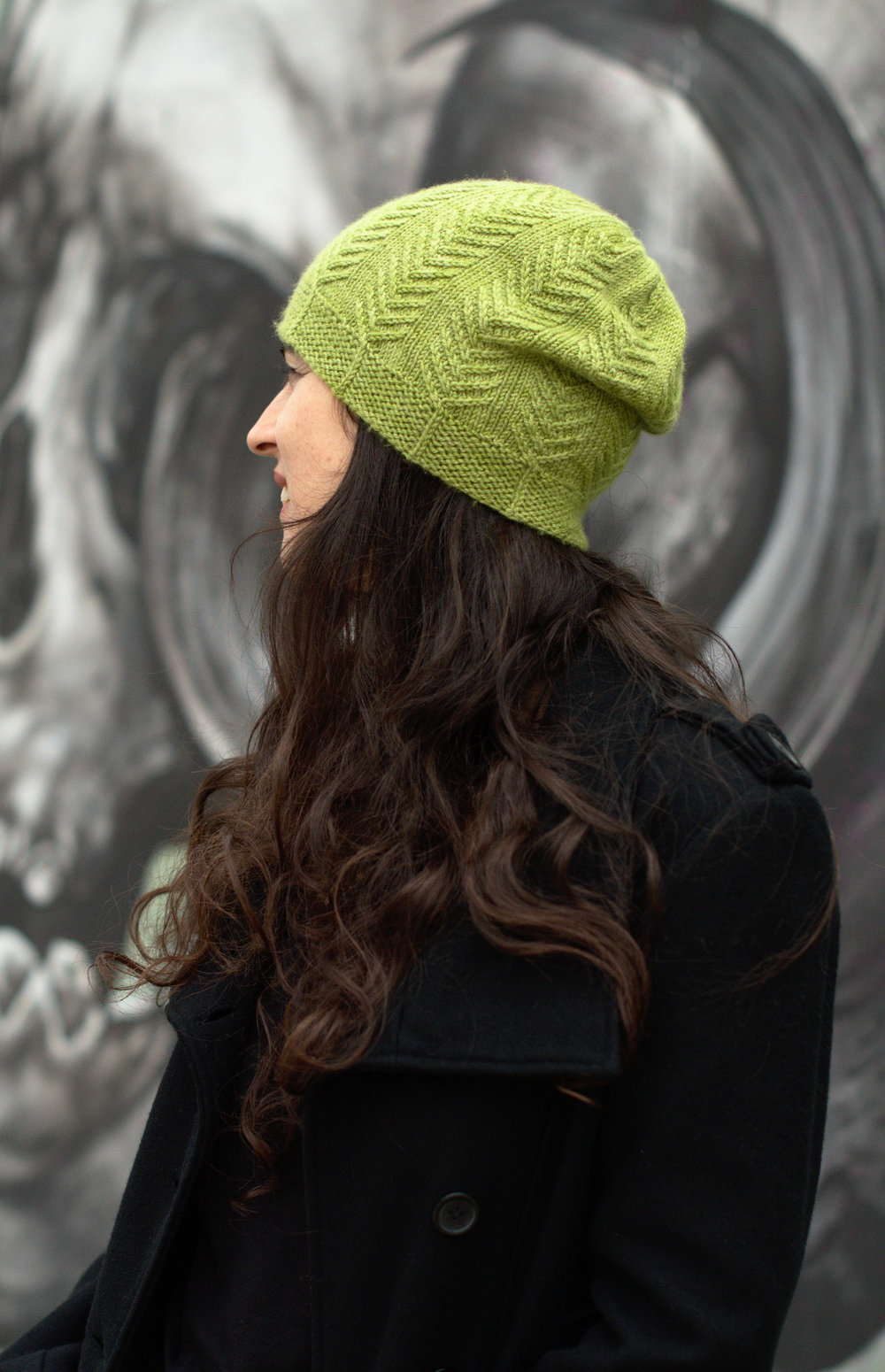 Pinua slouchy textured Hat knitting pattern