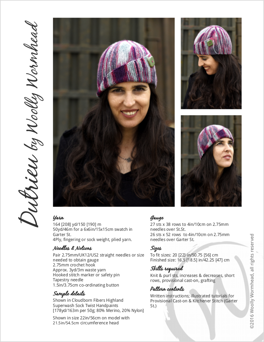Dutrieu sideways knit cloche Hat knitting pattern