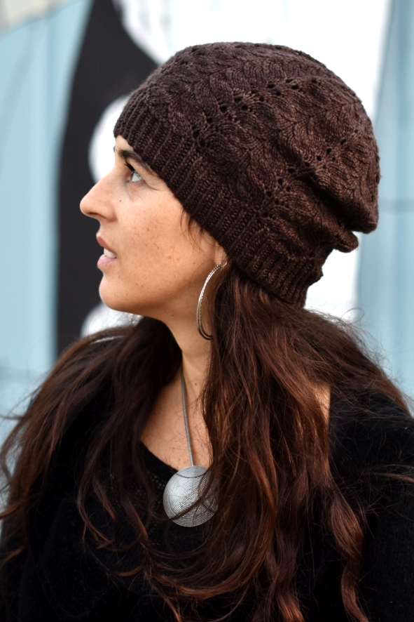 Adiantum slouchy lace Hat hand knitting pattern